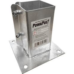 Powapost Galvanised Bolt Down Post Shoe 75 x 75mm - 37209 - from Toolstation