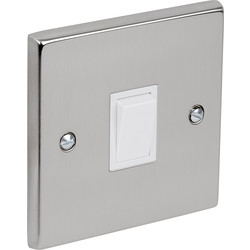 Satin Chrome / White Switch 10A 1 Gang Intermediate - 37224 - from Toolstation