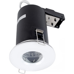 Meridian Lighting LED 9W Fire Rated Dimmable IP65 GU10 Downlight White 650lm - 37443 - from Toolstation