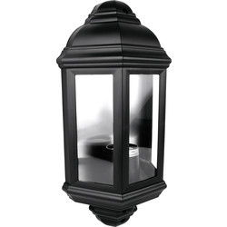 Eterna 60W PIR IP44 Half Lantern Black - 37604 - from Toolstation