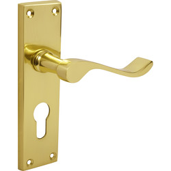 Victorian Scroll Door Handles Euro Lock Brass - 37888 - from Toolstation