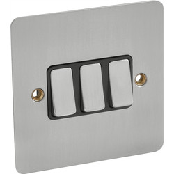 Flat Plate Satin Chrome 10A Switch 3 Gang 2 Way - 38205 - from Toolstation