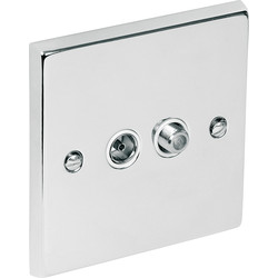 Chrome TV / Satellite Socket Outlet Satellite/TV - 38227 - from Toolstation