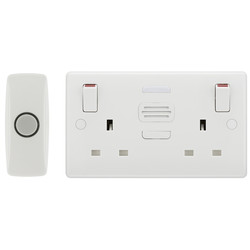 BG White Moulded Double Switched 13A Socket with Door Chime