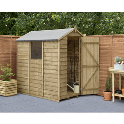 Forest Forest Garden Overlap Pressure Treated Apex Shed 6' x 4' - 38371 - from Toolstation
