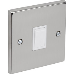 Satin Chrome / White Switch 10A 1 Gang 2 Way - 38398 - from Toolstation