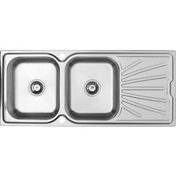 Maine Stainless Steel Double Bowl Kitchen Sink & Drainer 1160 x 500mm - 38423 - from Toolstation