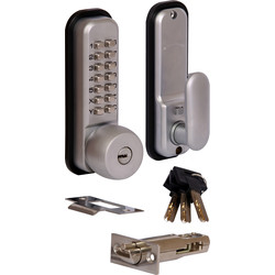 Push-Button Lock with Override & Holdback Satin Chrome - 38717 - from Toolstation