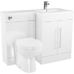 Cassellie 2 Door L-Shaped Bathroom Unit Gloss White Right Hand - 38797 - from Toolstation