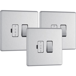 BG Screwless Flat Plate Brushed Stainless Steel 13A Spur Unit Switched Fused Trade Pack