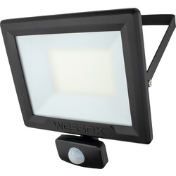 Wessex Electrical Wessex LED PIR Floodlight IP65 50W 4000lm Black - 38920 - from Toolstation