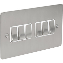 Flat Plate Satin Chrome 10A Switch 6 Gang 2 Way - 38978 - from Toolstation