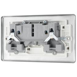 BG Brushed Steel 13A DP White Insert Switched Socket