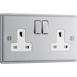 BG BG Brushed Steel 13A DP White Insert Switched Socket 2 Gang - 39233 - from Toolstation