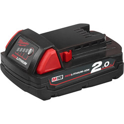 Milwaukee Milwaukee M18 18V Red Li-Ion Battery 2.0Ah - 39390 - from Toolstation
