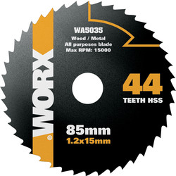 Worx Worx HSS Circular Saw Blade 85 x 15mm x 44T - 39539 - from Toolstation