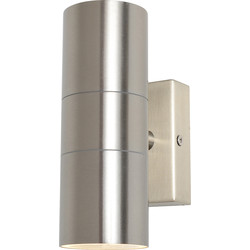 Zinc Wall Up & Down Light Stainless Steel IP44 GU10 2x 28W - 39644 - from Toolstation