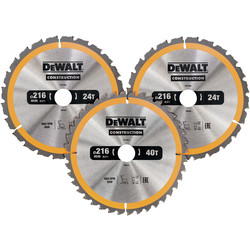 DeWalt DeWalt Construction Circular Saw Blades 216mm - 39719 - from Toolstation