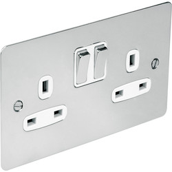 Flat Plate Polished Chrome 13A Socket 2 Gang Switched SP - 39754 - from Toolstation