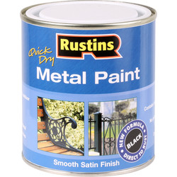 Rustins Rustins Quick Dry Metal Paint Smooth Satin 500ml Black - 39925 - from Toolstation