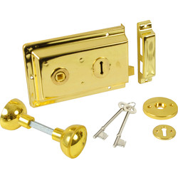 ERA Rim Lock with Handles Electro Brass - 40083 - from Toolstation