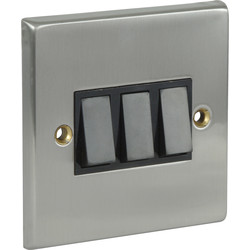 Satin Chrome / Black Switch 10A 3 Gang 2 Way - 40287 - from Toolstation