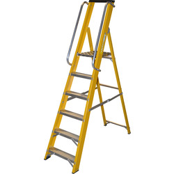 Lyte Ladders Lyte Heavy Duty Fibreglass Platform Step Ladder With Safety Handrail 6 Tread, Closed Length 2.04m - 40363 - from Toolstation