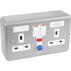 MK MK Metal Clad 13A RCD Switched Socket 2 Gang 30mA Active - 40522 - from Toolstation