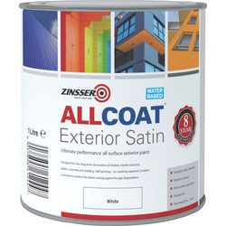 Zinsser Zinsser Allcoat Exterior Satin Paint White 1L - 40553 - from Toolstation