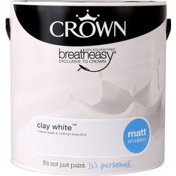 Crown Crown Breatheasy Matt Emulsion 2.5L Clay White - 40584 - from Toolstation