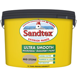 Sandtex Sandtex Ultra Smooth Masonry Paint 10L Mid Stone - 40676 - from Toolstation