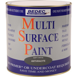Bedec Bedec Multi Surface Paint Satin Anthracite 2.5L - 41235 - from Toolstation