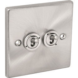 Click Deco Click Deco Satin Chrome Toggle Switch 10A 2 Gang 2 Way - 41296 - from Toolstation