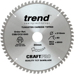 Craft Trend Craft Circular Saw Blade 216 x 60T x 30mm CSB/CC21660 - 41302 - from Toolstation