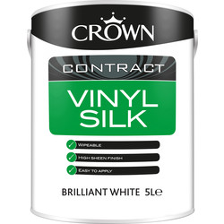 Crown Contract Crown Contract Vinyl Silk Emulsion 5L Brilliant White - 41355 - from Toolstation
