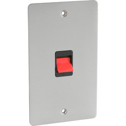 Flat Plate Satin Chrome 45A DP Switch Tall - 41386 - from Toolstation