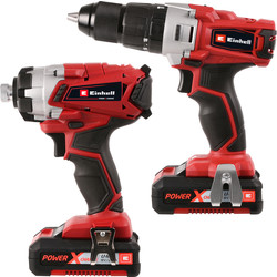 Einhell Power X-Change 18V Li-Ion Cordless Combi Drill & Impact Driver Twin Pack 2 x 2.0Ah