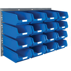 Barton Barton Steel Louvre Panel with Blue Bins 641 x 457mm with TC4 Blue Bins - 41449 - from Toolstation
