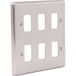 Wessex Wiring Wessex Brushed Stainless Steel Grid Front Plate 6 Gang - 41552 - from Toolstation