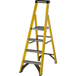 Youngman Youngman Fibreglass Platform Step Ladder 4 Tread SWH 2.69m - 42172 - from Toolstation