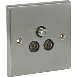 Satin Chrome / Black TV / Satellite Socket Outlet Satellite / TV / FM - 42181 - from Toolstation