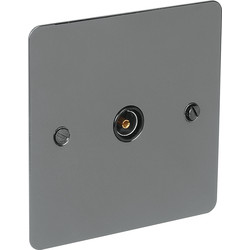 Flat Plate Black Nickel TV Socket Outlet TV Single - 42182 - from Toolstation