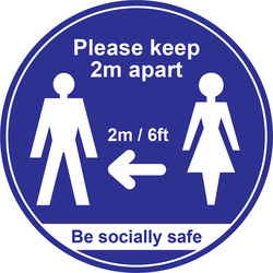 Centurion 'Please Keep 2m Apart' Floor Graphic 400mm Blue - 42267 - from Toolstation
