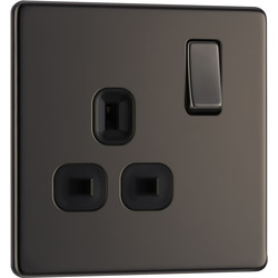 BG BG Screwless Flat Plate Black Nickel 13A DP Switch Socket 1 Gang - 42338 - from Toolstation