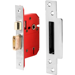 Union BS 5 Lever Mortice Sashlock 64mm Satin Chrome - 42499 - from Toolstation