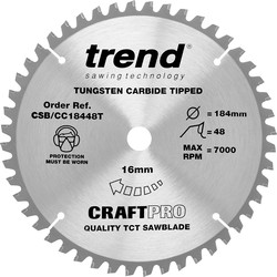 Craft Trend Craft Thin Kerf Circular Saw Blade 184 x 48T x 16mm CSB/CC18448T - 42508 - from Toolstation