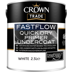 Crown Trade Crown Trade Fastflow Quick Dry Primer Undercoat Paint 2.5L White - 42788 - from Toolstation