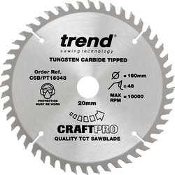 Craft Trend Craft Plunge Saw Blade 160 x 48T x 20mm CSB/PT16048 - 42902 - from Toolstation