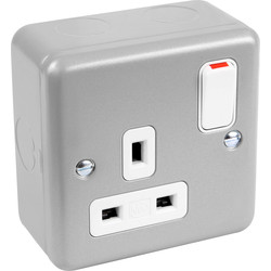 MK MK Metal Clad DP Switched Socket 1 Gang - 42977 - from Toolstation