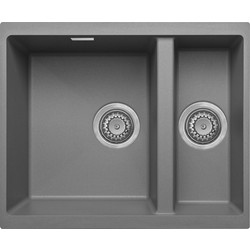 Granite Composite 1 1/2 Bowl Undermount Kitchen Sink Grey - 43097 - from Toolstation